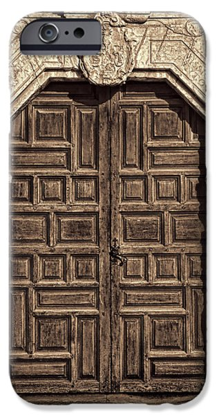 Religious iPhone Cases - Mission Concepcion Doors - Sepia iPhone Case by Stephen Stookey