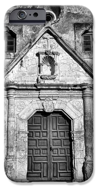 Religious Photographs iPhone Cases - Mission Concepcion Entrance - BW iPhone Case by Stephen Stookey