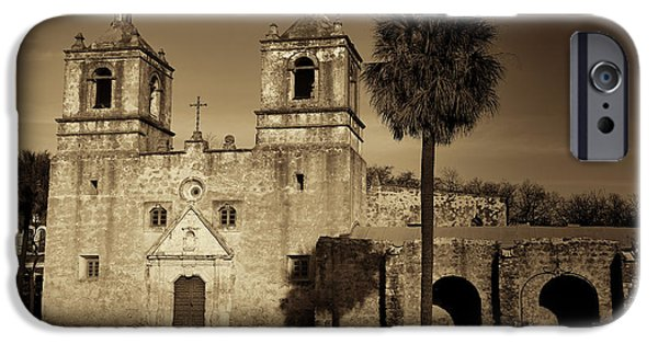 Religious iPhone Cases - Mission Concepcion -- Sepia iPhone Case by Stephen Stookey