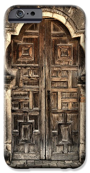 Religious iPhone Cases - Mission Espada Door - 2 iPhone Case by Stephen Stookey