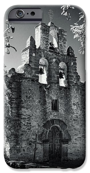 Religious iPhone Cases - Mission Espada Door - BW iPhone Case by Stephen Stookey