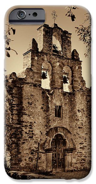 Rocks iPhone Cases - Mission Espada -- Sepia iPhone Case by Stephen Stookey