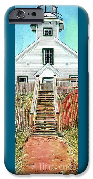 Chicago Paintings iPhone Cases - Mission Point Lighthouse iPhone Case by LeAnne Sowa