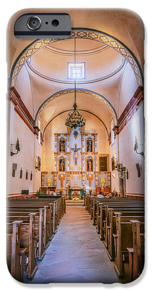 Religious iPhone Cases - Mission San Jose Chapel iPhone Case by Joan Carroll