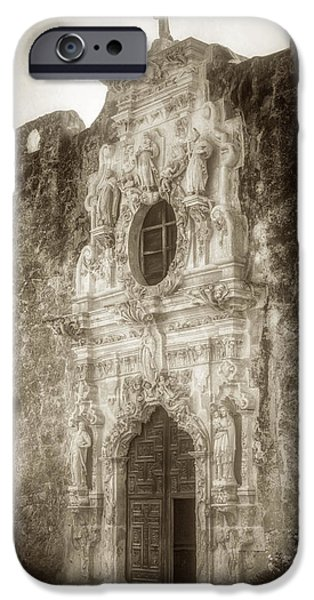 Religious iPhone Cases - Mission San Jose Facade iPhone Case by Joan Carroll