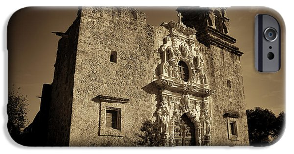 Stone Carving iPhone Cases - Mission San Jose - Sepia iPhone Case by Stephen Stookey