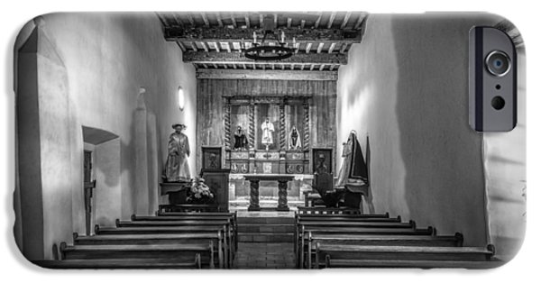 Religious iPhone Cases - Mission San Juan Capistrano Texas BW iPhone Case by Joan Carroll