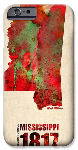 Mississippi Watercolor Map iPhone Case by Naxart Studio