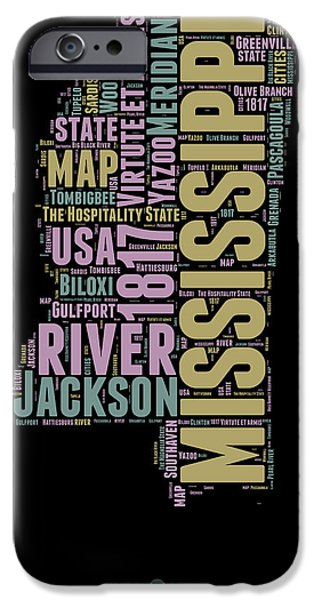 4th July Mixed Media iPhone Cases - Mississippi Word Cloud 1 iPhone Case by Naxart Studio
