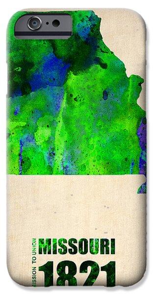 Missouri iPhone Cases - Missouri Watercolor Map iPhone Case by Naxart Studio
