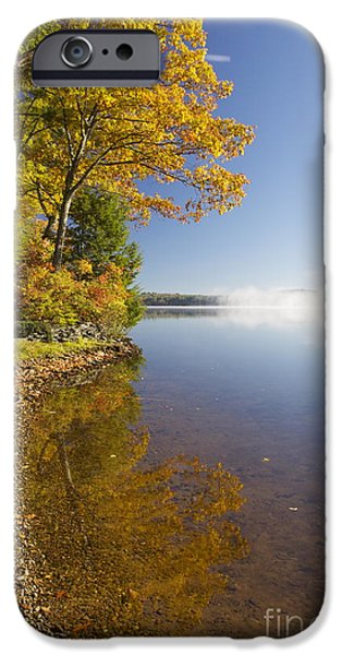Mist iPhone Cases - Misting Lake 2 iPhone Case by Aquadro Photography