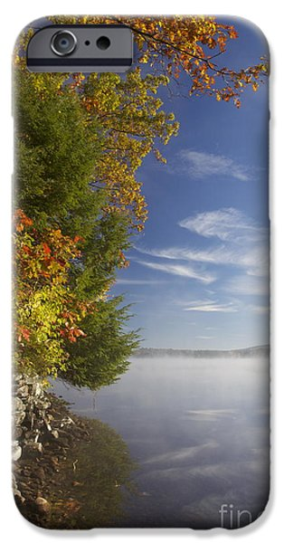 Mist iPhone Cases - Misting Lake 3 iPhone Case by Aquadro Photography