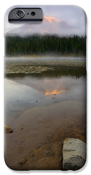 Fog Mist iPhone Cases - Misty Alpenglow iPhone Case by Mike  Dawson