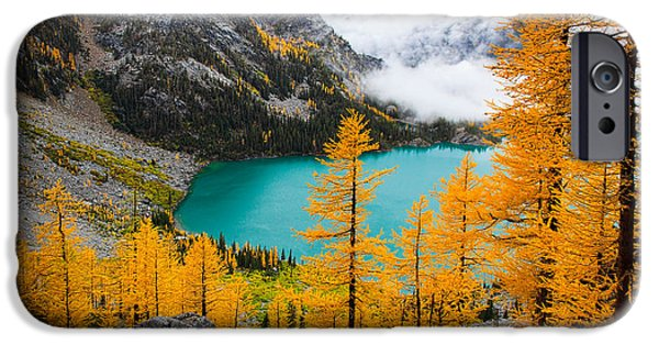 Mist iPhone Cases - Misty Colchuck Lake iPhone Case by Inge Johnsson