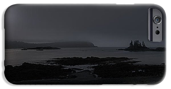 Moonscape iPhone Cases - Misty Moonlight on Wallace Cove iPhone Case by Marty Saccone