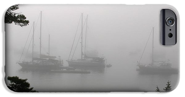 Tall Ship iPhone Cases - Misty Morning at Northeast Harbor iPhone Case by Juergen Roth
