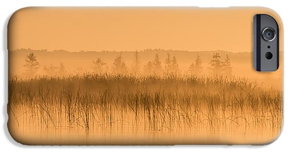 Fog Mist iPhone Cases - Misty Morning Floating Bog Island on Boy Lake iPhone Case by Patti Deters