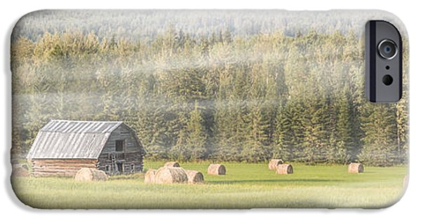 Shed iPhone Cases - Misty Morning Haybales iPhone Case by Patti Deters