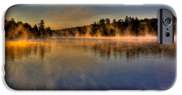 Fog Mist iPhone Cases - Misty Morning on Old Forge Pond iPhone Case by David Patterson