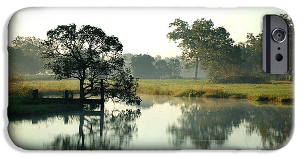 Micdesigns iPhone Cases - Misty Morning Pond iPhone Case by Michael Thomas