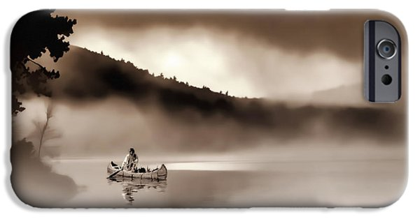 Canoe iPhone Cases - Misty Morning iPhone Case by Stephen Anthony