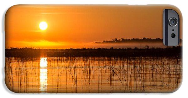 Fog Mist iPhone Cases - Misty Orange Sunrise on Boy Lake iPhone Case by Patti Deters