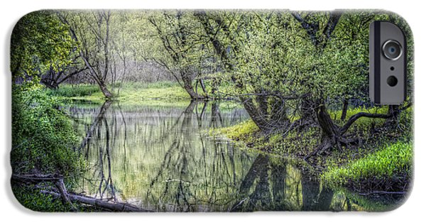 Willow Lake iPhone Cases - Misty Waters iPhone Case by Debra and Dave Vanderlaan