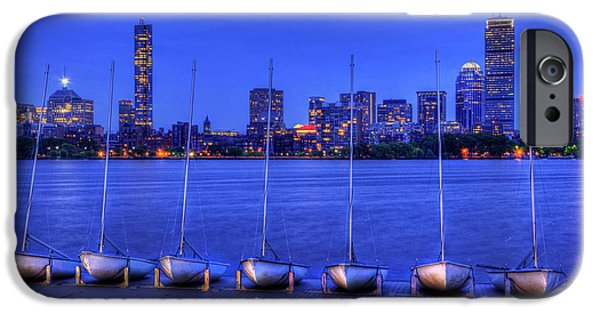 Charles River iPhone Cases - MIT Sailing Pavilion and the Boston Skyline at Night iPhone Case by Joann Vitali