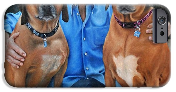 Mj Paintings iPhone Cases - MJ and The Pups iPhone Case by Beth Beam