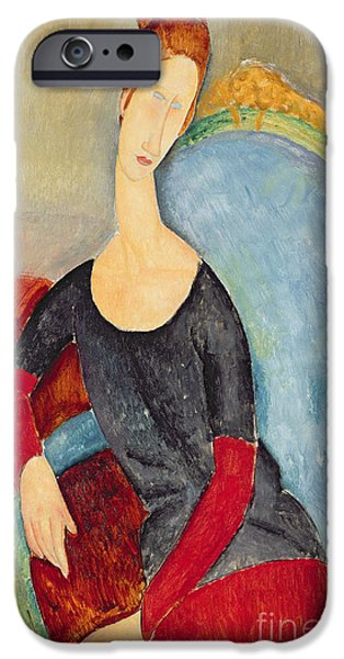 Hairstyle iPhone Cases - Mme Hebuterne in a Blue Chair iPhone Case by Amedeo Modigliani