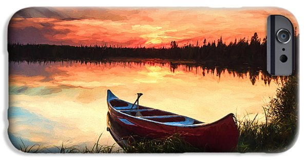 Canoe iPhone Cases - MN Sunset @ iPhone Case by Lori Dobbs