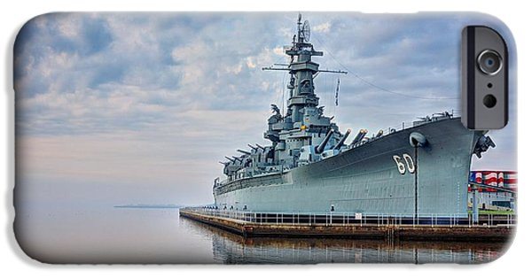 Usn iPhone Cases - Mobile Bay and the USS Alabama iPhone Case by JC Findley