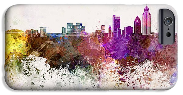 Art Mobile iPhone Cases - Mobile skyline in watercolor background iPhone Case by Pablo Romero
