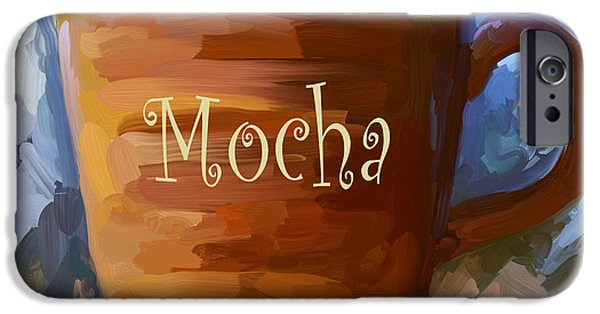 Experience Paintings iPhone Cases - Mocha Coffee Cup iPhone Case by Jai Johnson
