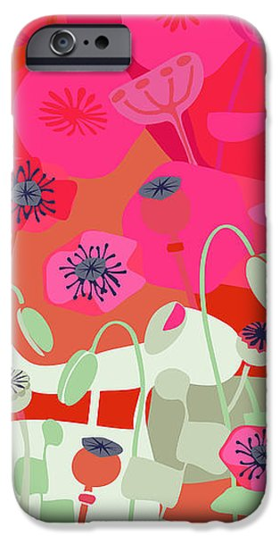 Watermelon Drawings iPhone Cases - Mod Red Poppies iPhone Case by CR Leyland