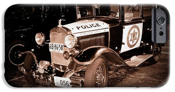 Police Cruiser iPhone Cases - Model A Culver City Police BW iPhone Case by David Dunham