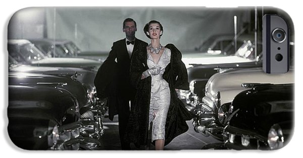 Ball Gown Photographs iPhone Cases - Model Barbara Mullen In Parking Garage iPhone Case by Conde Nast