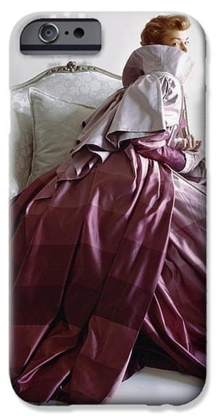 Ball Gown Photographs iPhone Cases - Model In Adrian Coat Of Rymond-holland iPhone Case by Conde Nast