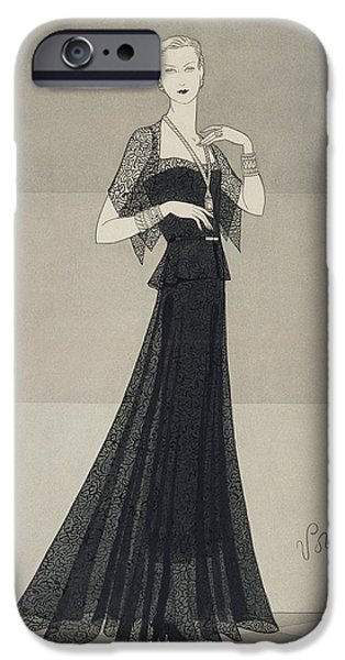 Ball Gown Photographs iPhone Cases - Model Wearing A Black Lace Dress iPhone Case by Conde Nast