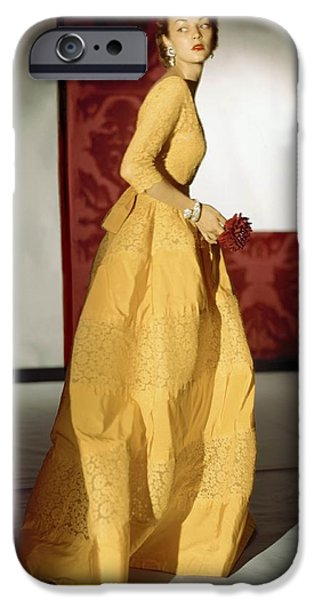 Ball Gown Photographs iPhone Cases - Model Wearing A Lemon Yellow Evening iPhone Case by Conde Nast