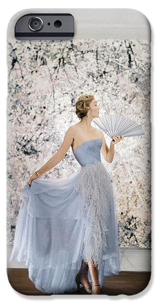 Ball Gown Photographs iPhone Cases - Model Wearing A Pale Blue Ball Gown iPhone Case by Conde Nast