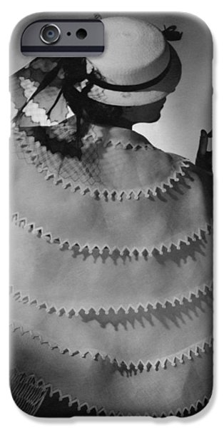 Ball Gown Photographs iPhone Cases - Model Wearing A White Sailor Hat iPhone Case by Conde Nast