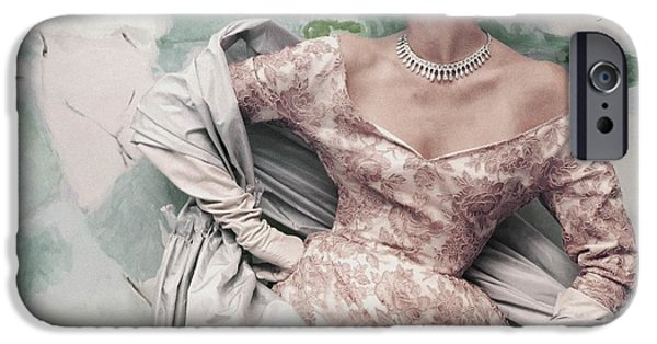 Ball Gown Photographs iPhone Cases - Model Wearing Balenciagas Short Sleeved iPhone Case by Conde Nast