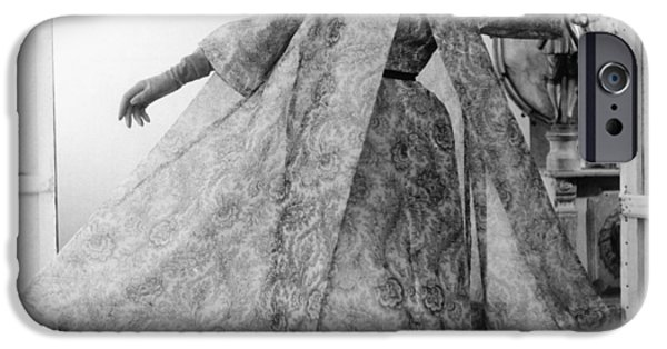 Ball Gown Photographs iPhone Cases - Model Wearing Paisley Silk Organdy iPhone Case by Conde Nast