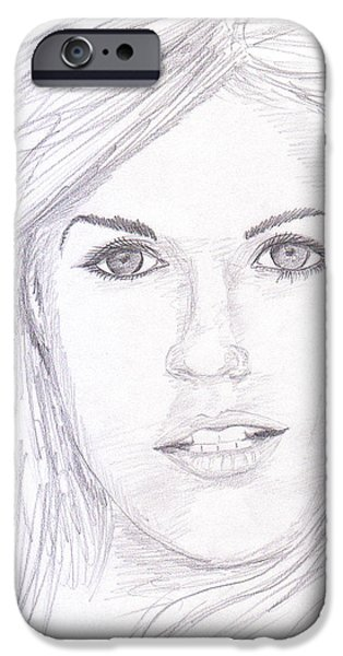 Model with blond hair iPhone Case by Jose Valeriano