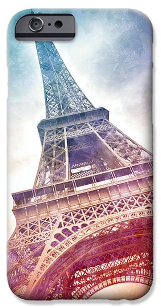 Vertical Digital iPhone Cases - Modern-Art EIFFEL TOWER 21 iPhone Case by Melanie Viola