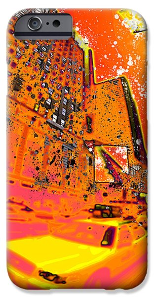Abstract Digital Photographs iPhone Cases - Modern Art NYC Times Square I iPhone Case by Melanie Viola