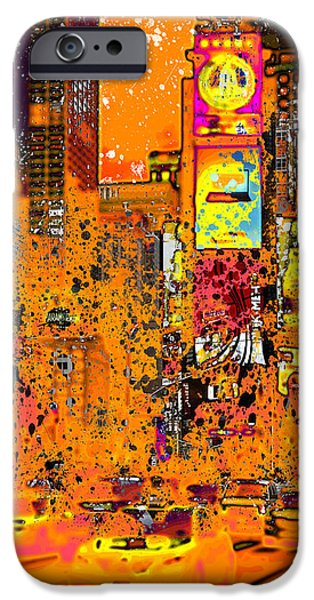 Abstract Digital Photographs iPhone Cases - Modern Art NYC Times Square III iPhone Case by Melanie Viola