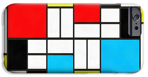 Mondrian iPhone Cases - Modern Art Square iPhone Case by Edward Fielding