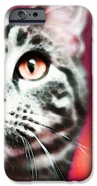 Orange Digital iPhone Cases - Modern Cat Art - Zebra iPhone Case by Sharon Cummings